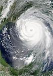 Hurricane Katrina, Louisiana, Us, On 28/08/2005, True Colour Satellite Image. Hurricane Katrina on 28 August 2005 near peak strength over the Gulf of Mexico. True-colour satellite image using MODIS data.