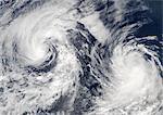 Tropical Storms Boris And Cristina, Pacific Ocean, In 2008, True Colour Satellite Image. Tropical storms Boris and Cristina on 28 June 2008 over the Pacific ocean. True-colour satellite image using MODIS data.