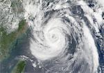 Typhoon Nari, Taiwan, China, Asia, In 2001, True Colour Satellite Image. Typhoon Nari in September 2001 northeast of Taiwan and west of Shanghai, China. True-colour satellite image using MODIS data.