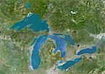 Image Satellite des grands lacs, l'Amérique du Nord, couleur vraie. Image satellite de véritable couleur de la région des grands lacs, qui comprend la Province canadienne de l'Ontario et huit États américains. Lacs sont d'ouest en est : lac supérieur, lac Michigan, lac Huron, lac Érié et lac Ontario. Image composite à l'aide de données LANDSAT 5.