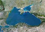 Mer Noire, Europe, véritable couleur Image-Satellite. Image satellite de véritable couleur de la mer Noire, mer intérieure entourée d'Europe, l'Anatolie et dans le Caucase. Il se trouve entre la Bulgarie, Géorgie, Roumanie, Russie, Turquie et Ukraine. La mer Noire se connecte à la mer d'Azov (en haut). Le détroit du Bosphore relie à la mer de Marmara (en bas à gauche). Image composite à l'aide de données LANDSAT 5.