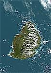 Maurice, Image Satellite de la couleur vraie. Maurice, image satellite de vraies couleurs, prise le 19 août 1999, par le satellite LANDSAT 7.