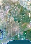 Bénin, Image Satellite couleur vraie avec bordure