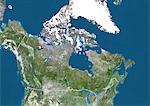 Canada, True Colour Satellite Image With Border