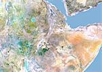 Éthiopie, Image Satellite avec effet de relief, avec bordure