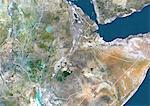 Éthiopie, Image Satellite couleur vraie avec bordure