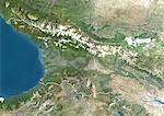 Georgia, True Colour Satellite Image With Border