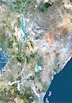 Kenya, Image Satellite couleur vraie avec bordure