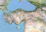 Turquie, Image Satellite avec effet de relief, avec bordure
