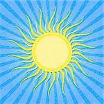 Yellow Sun on Grunge Blue Striped Card. Vector Illustration