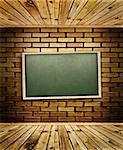school blackboard at brick wall