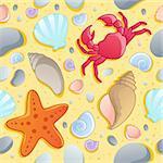 Beach theme seamless background 1 - vector illustration.