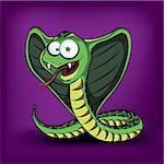 Funny cartoon cobra. Vector illustration