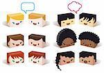 diversity avatars, multiethnic vector people icon set