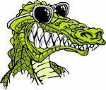 Cartoon Image of a Crocodile or Alligator Wearing Sunglasses