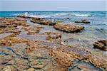 Landscape with deserted stony seacoast