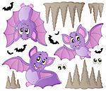Cartoon bats collection - vector illustration.