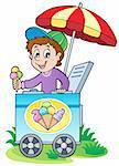 Happy ice cream man - vector illustration.