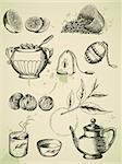 set of vintage vector hand drawn tea icons