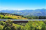 Concrete Bridge Across the Ravine in the Italian Alps