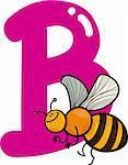 cartoon illustration of B letter for bee