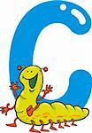 cartoon illustration of C letter for caterpillar
