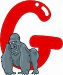 cartoon illustration of G letter for gorilla