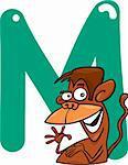 cartoon illustration of M letter for monkey