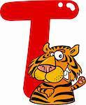 cartoon illustration of T letter for tiger