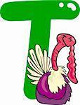 cartoon illustration of T letter for turkey
