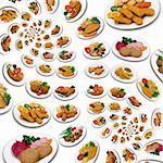 Abundance of chicken meal swirl pattern