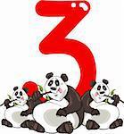 cartoon illustration with number three and panda bears