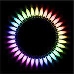 Color Gas Flame. Illustration on black background