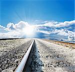 low view railway to sunny horizon
