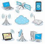 Stock vector illustration Wireless Technology icons