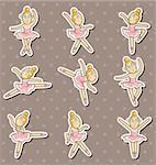 cartoon Ballet dancer stickers