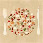 Vintage Restaurant Design, Old Paper, Vector Illustration