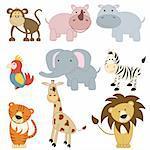 Cartoon african animals set on white background