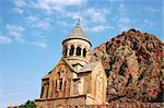 Noravank monastery in Armenia, red rocky mountains.