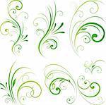 Spring floral decorative swirls