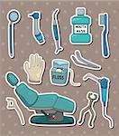 cartoon dentist tool stickers