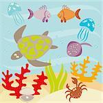 Underwater landscape and animals living in ocean