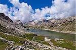 Lake at Puez-Geisler Nature Park, Sella Group, Val Gardena, South Tyrol, Trentino Alto Adige, Italy