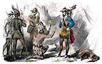 1500s LAST INCA EMPEROR ATAHUALPA KNEELING BEFORE SPANISH CONQUISTADOR PIZARRO