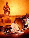 CIVIL WAR ERA STILL LIFE CANNON DRUM PARCHMENT PAPER QUILL FEATHER PEN STATUE