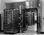 1940s 1950s BANK INTERIOR MASSIVE VAULT DOOR INDOOR