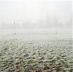 Soccer goal in frosty field