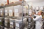 Senior female employee in spice storage room