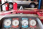 Close-up of a hoist pressure gauge in garage