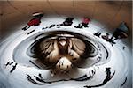 Reflet des piétons en Cloud Gate Sculpture, Millenium Park, Chicago, Illinois, Etats-Unis